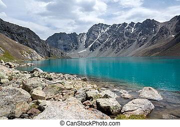 shan, kirghizistan, tien, lac, ala-kul, majestueux