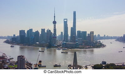 shanghai, urbain, huangpu, horizon, ville, lujiazui