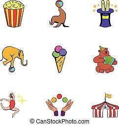 shapito, style, icônes, ensemble, cirque, dessin animé