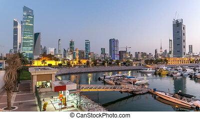 sharq, bateaux, kuwait., ville, koweït, timelapse, yachts, milieu, nuit, marina, est, jour