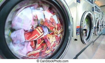 sheets., tel, machine, coloré, lessive, habillement, lave, lavage