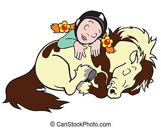 shetland, girl, poney