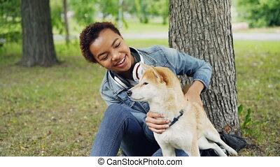 shiba, mignon, lent, séance, inu, caresser, african-american, parc, chien, arbre, mouvement, quoique, lécher, sous, girl, herbe, muzzle., sien, content, nez