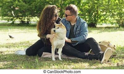 shiba, parler., herbe, animaux, séance, chouchou, inu, concept., moderne, parc, embêter, leur, conversation, épouse, style de vie, chiot, couple, mari, heureux