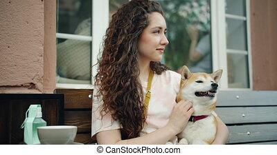 shiba, séance, inu, chien, banc, caresser, rue, jolie fille, café, adorable