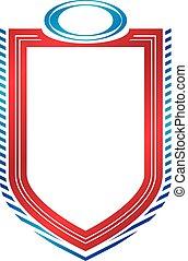 shield., vecteur, emblème, vendange, héraldique, espace, protection, vide, copie, conception