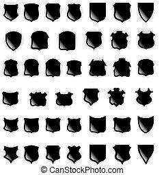 shields., vecteur, éléments conception
