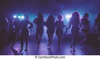shilouettes, danseurs, groupe, femme