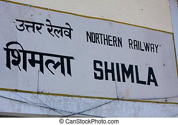 shimla, ferroviaire, signe