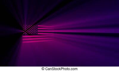 shines, drapeau, usa, projecteur