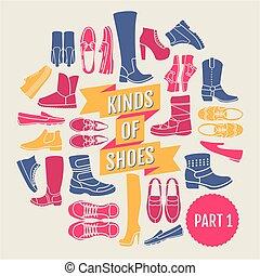 shoes., 1, partie, genres
