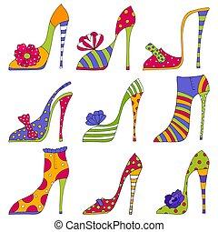 shoes., décoratif, mode, éléments