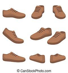 shoes., devant, dos, vue., mâle, côté