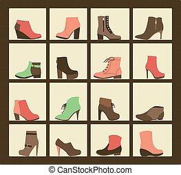 shop., chaussures, collection, étagères
