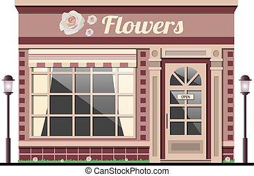 shop., façade, store., fleur