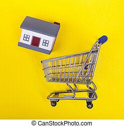 shoping, maisons, jaune, caoutchouc, arrière-plan., charrette
