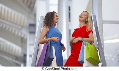 shoppers, escalator