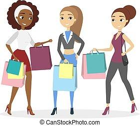 shopping., isolé, femmes