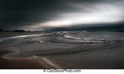shore., lourd, temps, océan