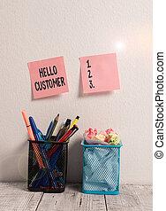 showcasing, achats, customer., rose, desk., stylos, pots, mur, salutation, notes, photo, bonjour, crayons, services, deux, crayon, écriture, projection, marchandises, note, business, collant, utilisé, ou, quelqu'un