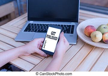 showcasing, published., matériel, business, public, écriture, photo, main, obtenir, littérature, disponible, conceptuel, vue., faire, projection
