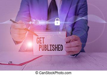 showcasing, published., matériel, note, business, écriture, photo, vue., obtenir, littérature, disponible, public, faire, projection