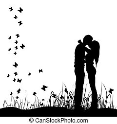 si, pré, baisers, couple, noir