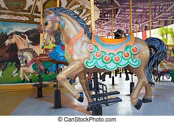 siam, carrousel, ville parc, chevaux