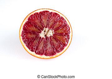 sicilien, sanguine, moitié, isolé, blanc rouge, orange
