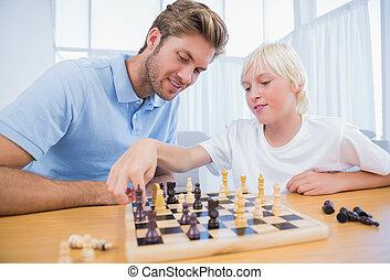 sien, échecs, père, garçon, jouer