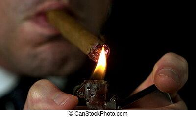 sien, éclairage, b, cigare, homme affaires