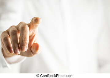 sien, écran, virtuel, toucher, doigt, homme