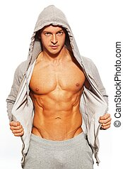 sien, abdominal, projection, gris, muscles, hoodie, homme, beau