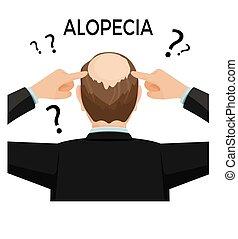 sien, alopécie, nape., concept., hairloss, projection, homme