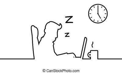 sien, art, derrière, matte., loopable, dormir, desk., animation, inclure, alpha, ligne, ronflement, homme