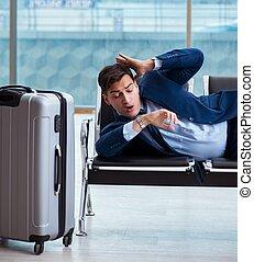 sien, attente homme affaires, aéroport, cla, business, avion