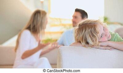 sien, audition, triste, blonds, parents, discuter, garçon