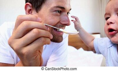 sien, bébé, père, fils, alimentation, heureux