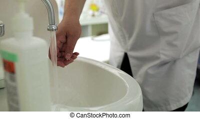 sien, bureau, docteur, mains, lave, savon