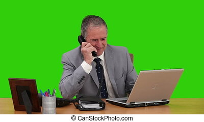 sien, bureau, fonctionnement, homme affaires, personnes agées
