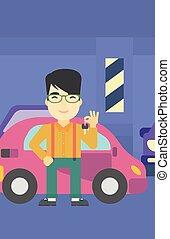 sien, clés, voiture., tenue, nouvel homme