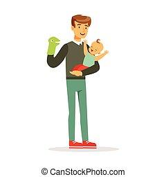 sien, coloré, père, illustration, bébé, vecteur, marionnette, amusement, jouet, adorable, avoir