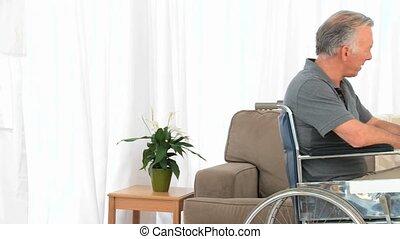sien, conversation, fauteuil roulant, épouse, homme