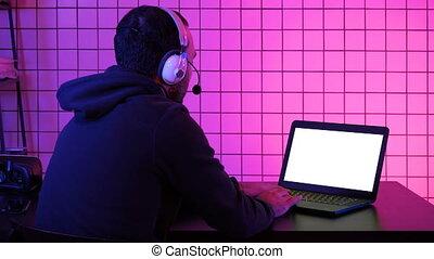 sien, display., laptop., jeu, vidéo, gamer, professionnel, blanc, jouer