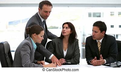 sien, document, projection, employés, patron