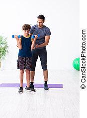 sien, exercices, père, fils, jeune