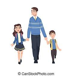 sien, fille, gosses, parent, ensemble, illustration, fils, vecteur, matin, dessin animé, mains, prendre, style, tenue, école, père, marche