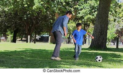 sien, football, père, fils, jouer
