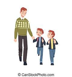 sien, gosses, parent, fils, ensemble, illustration, morning., vecteur, dessin animé, mains, prendre, style, deux, tenue, école, père, marche