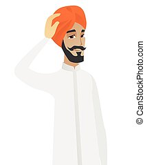 sien, hindou, jeune, homme affaires, grattement, head.